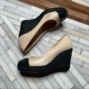 Chanel Cap Toe Two-Tone Wedges